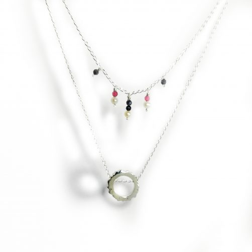 Collier double rang Inspiration Soulages, saphirs et perles dawn_joaillerie